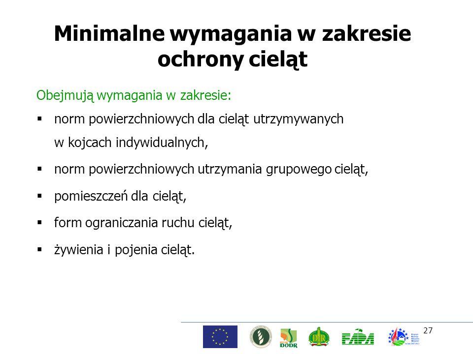 27 Minimalne wymagania w zakresie ochrony cieląt Obejmują wymagania w zakresie: norm powierzchniowych dla cieląt utrzymywanych w kojcach indywidualnyc