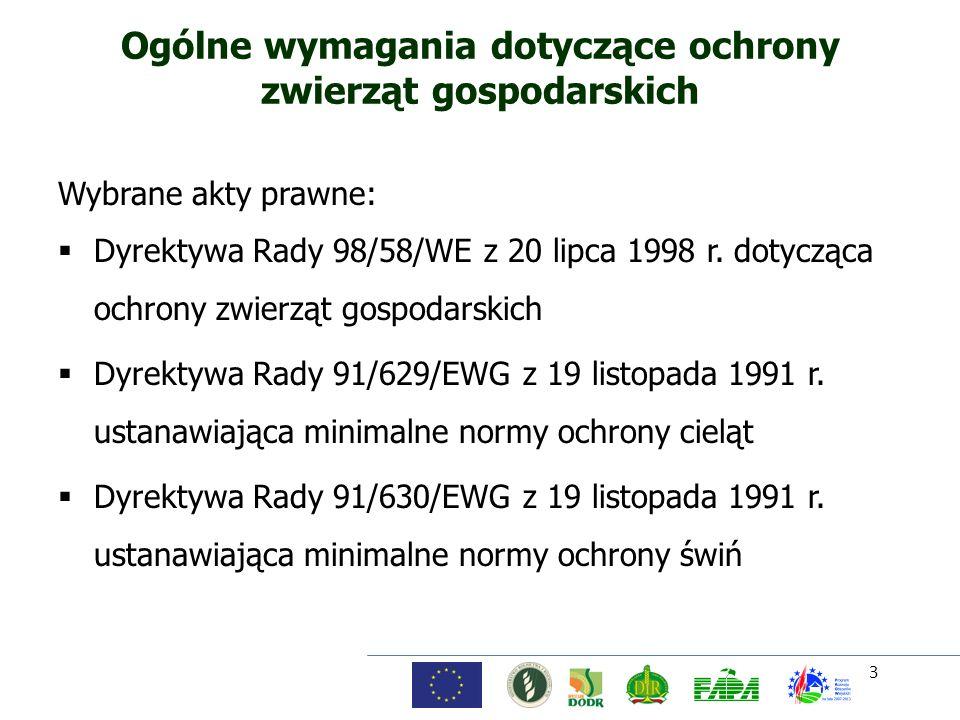 3 Ogólne wymagania dotyczące ochrony zwierząt gospodarskich Wybrane akty prawne: Dyrektywa Rady 98/58/WE z 20 lipca 1998 r. dotycząca ochrony zwierząt