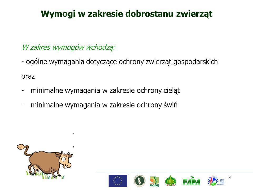 4 Wymogi w zakresie dobrostanu zwierząt W zakres wymogów wchodzą: - ogólne wymagania dotyczące ochrony zwierząt gospodarskich oraz -minimalne wymagani