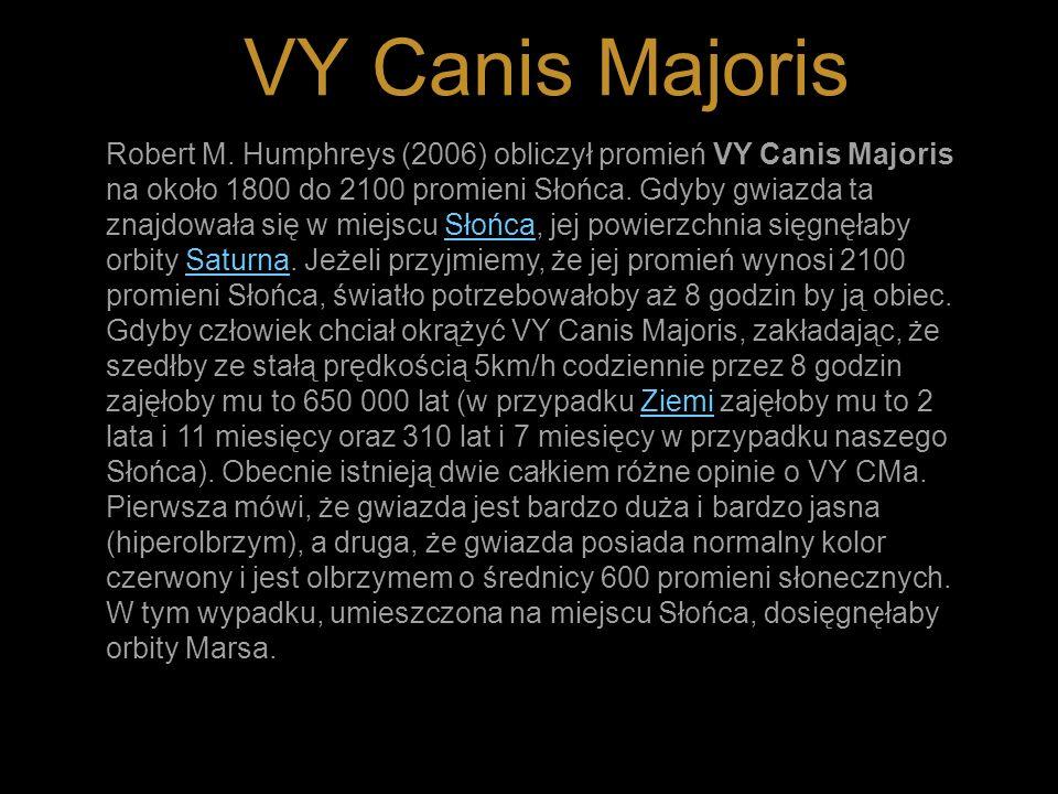 VY Canis Majoris Robert M. Humphreys (2006) obliczył promień VY Canis Majoris na około 1800 do 2100 promieni Słońca. Gdyby gwiazda ta znajdowała się w