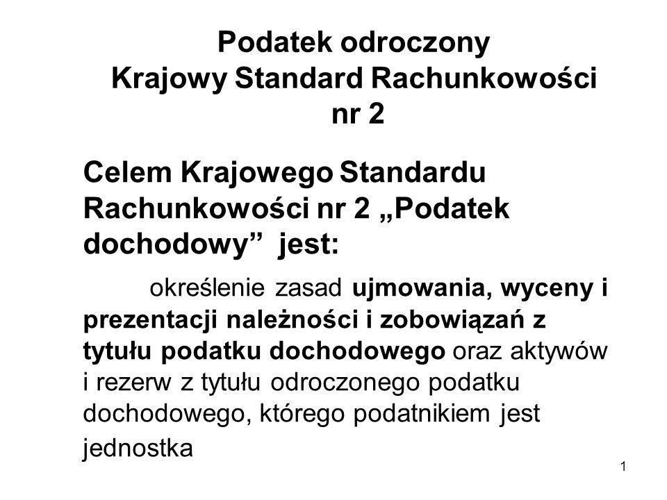 1 Podatek odroczony Krajowy Standard Rachunkowości nr 2 Celem Krajowego Standardu Rachunkowości nr 2 Podatek dochodowy jest: określenie zasad ujmowani