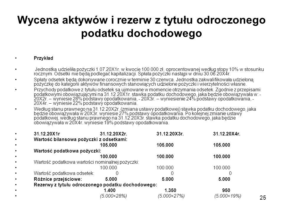 25 Wycena aktywów i rezerw z tytułu odroczonego podatku dochodowego Przykład Jednostka udzieliła pożyczki 1.07.20X1r. w kwocie 100.000 zł, oprocentowa