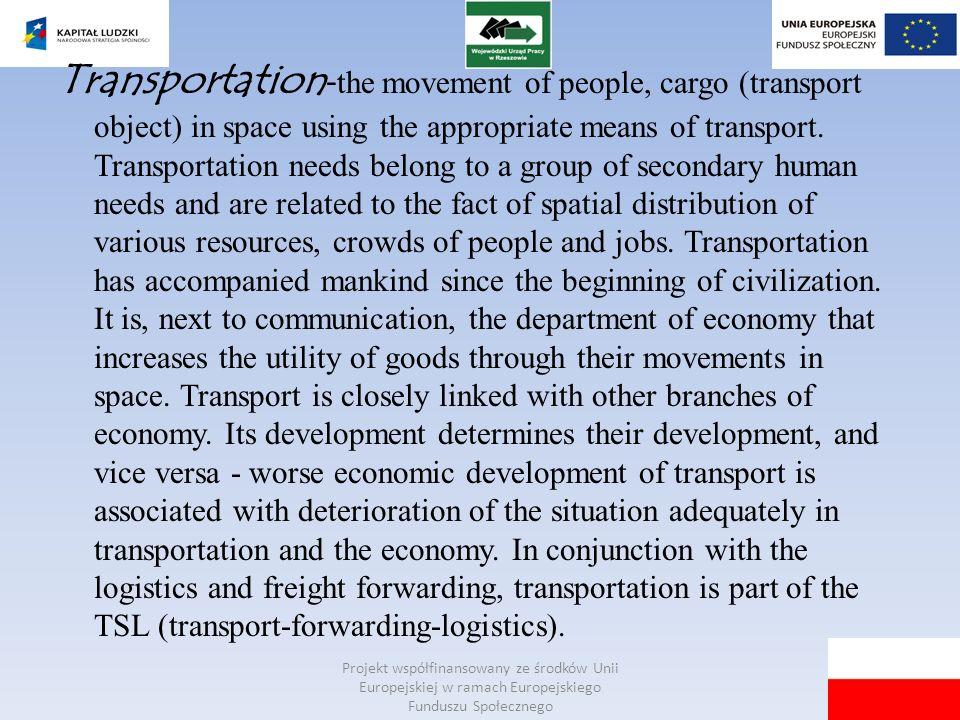 Projekt współfinansowany ze środków Unii Europejskiej w ramach Europejskiego Funduszu Społecznego Transportation - the movement of people, cargo (tran