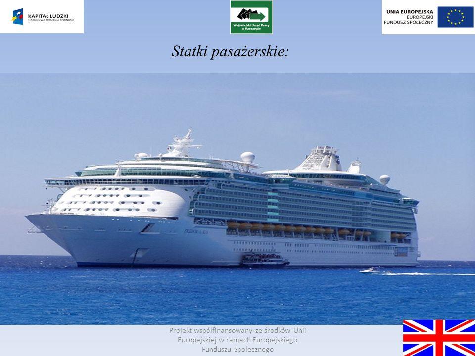 Projekt współfinansowany ze środków Unii Europejskiej w ramach Europejskiego Funduszu Społecznego Shipping - a form of transport, water transportation.