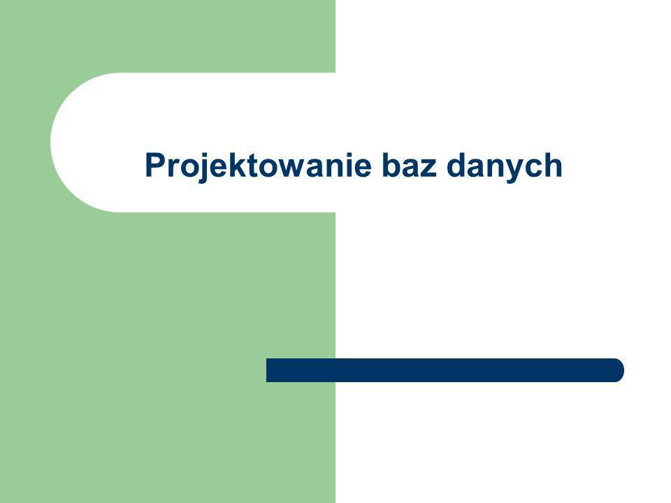 Etapy procesu projektowania BD Określenie celów, jakim ma służyć baza danych (w kontakcie z decydentem z firmy zamawiającej projekt).