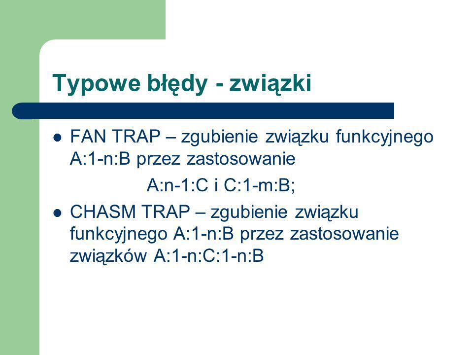 Typowe błędy - związki FAN TRAP – zgubienie związku funkcyjnego A:1-n:B przez zastosowanie A:n-1:C i C:1-m:B; CHASM TRAP – zgubienie związku funkcyjne