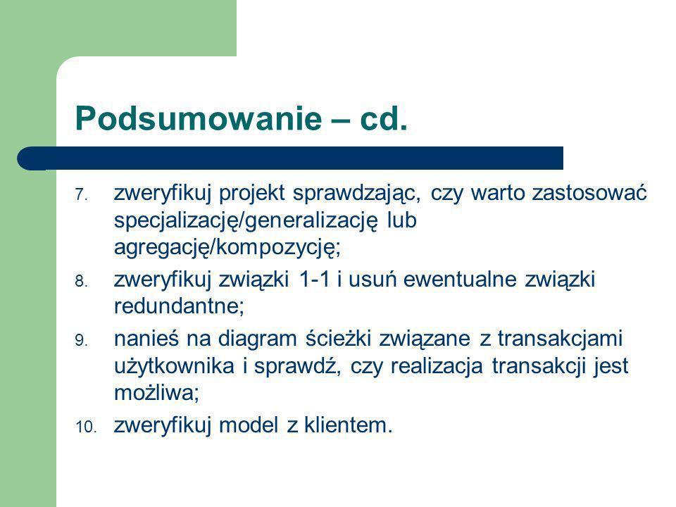 Podsumowanie – cd. 7. zweryfikuj projekt sprawdzając, czy warto zastosować specjalizację/generalizację lub agregację/kompozycję; 8. zweryfikuj związki