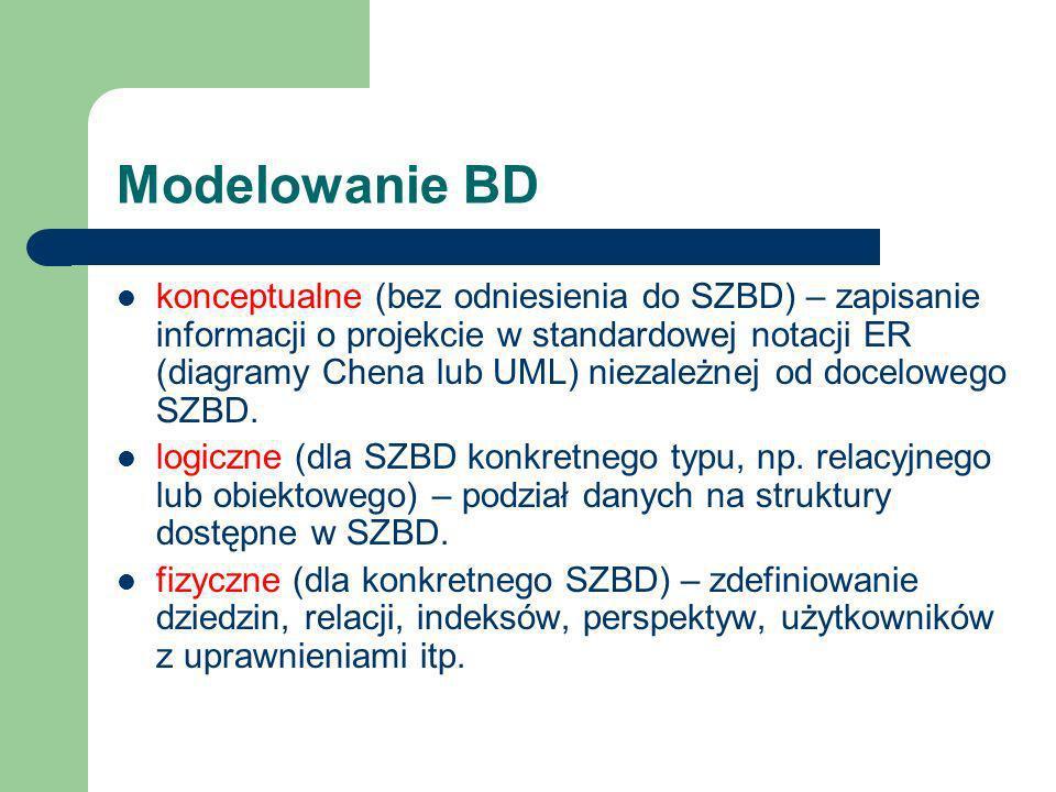 Modelowanie BD konceptualne (bez odniesienia do SZBD) – zapisanie informacji o projekcie w standardowej notacji ER (diagramy Chena lub UML) niezależne