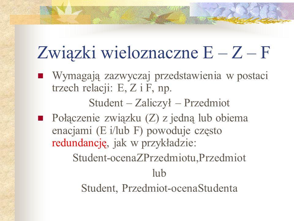 Związki wieloznaczne E – Z – F Wymagają zazwyczaj przedstawienia w postaci trzech relacji: E, Z i F, np. Student – Zaliczył – Przedmiot Połączenie zwi