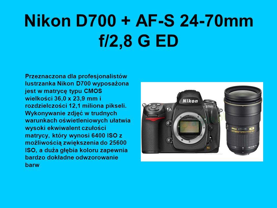 Nikon D700 + AF-S 24-70mm f/2,8 G ED Przeznaczona dla profesjonalistów lustrzanka Nikon D700 wyposażona jest w matrycę typu CMOS wielkości 36,0 x 23,9