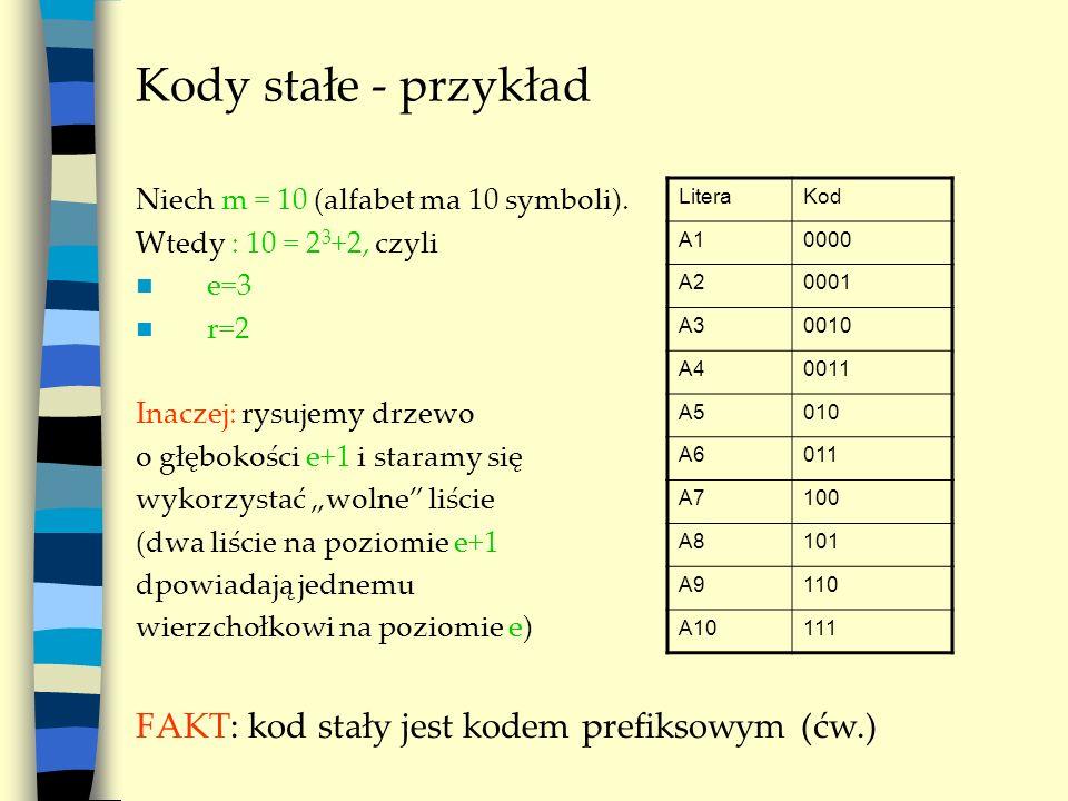 Kody stałe - przykład Niech m = 10 (alfabet ma 10 symboli). Wtedy : 10 = 2 3 +2, czyli e=3 r=2 Inaczej: rysujemy drzewo o głębokości e+1 i staramy się