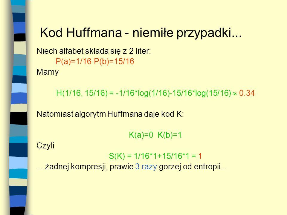 Kod Huffmana - niemiłe przypadki... Niech alfabet składa się z 2 liter: P(a)=1/16P(b)=15/16 Mamy H(1/16, 15/16) = -1/16*log(1/16)-15/16*log(15/16) 0.3