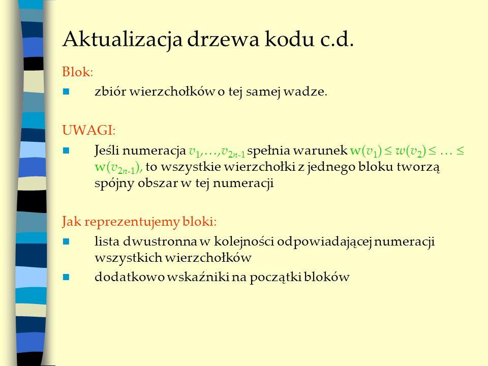 Aktualizacja drzewa kodu c.d. Blok: zbiór wierzchołków o tej samej wadze. UWAGI: Jeśli numeracja v 1,,v 2n-1 spełnia warunek w(v 1 ) w(v 2 ) w(v 2n-1