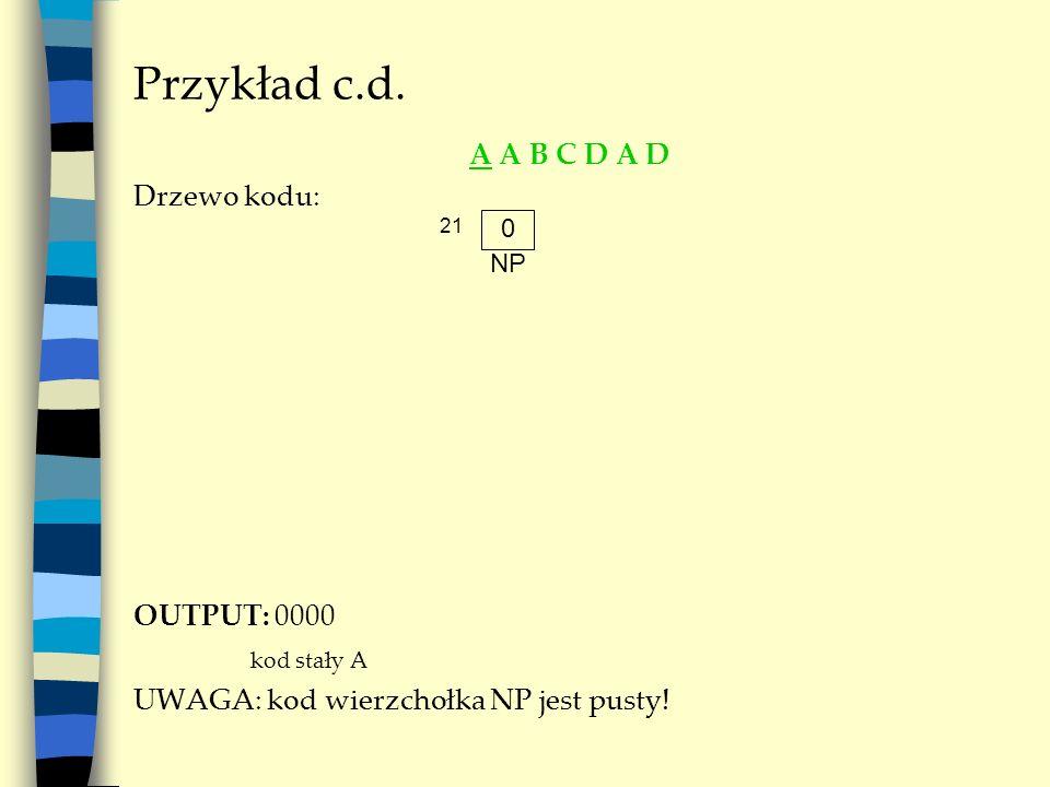 Przykład c.d. A A B C D A D Drzewo kodu: OUTPUT: 0000 kod stały A UWAGA: kod wierzchołka NP jest pusty! 0 NP 21