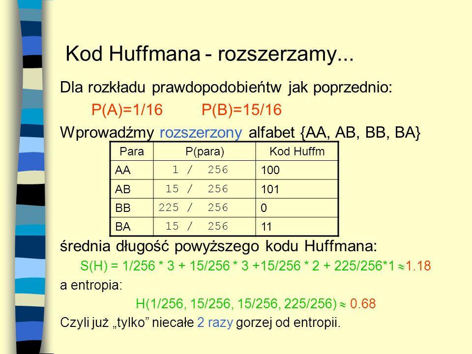 Kod Huffmana - rozszerzamy... Dla rozkładu prawdopodobieńtw jak poprzednio: P(A)=1/16P(B)=15/16 Wprowadźmy rozszerzony alfabet {AA, AB, BB, BA} średni
