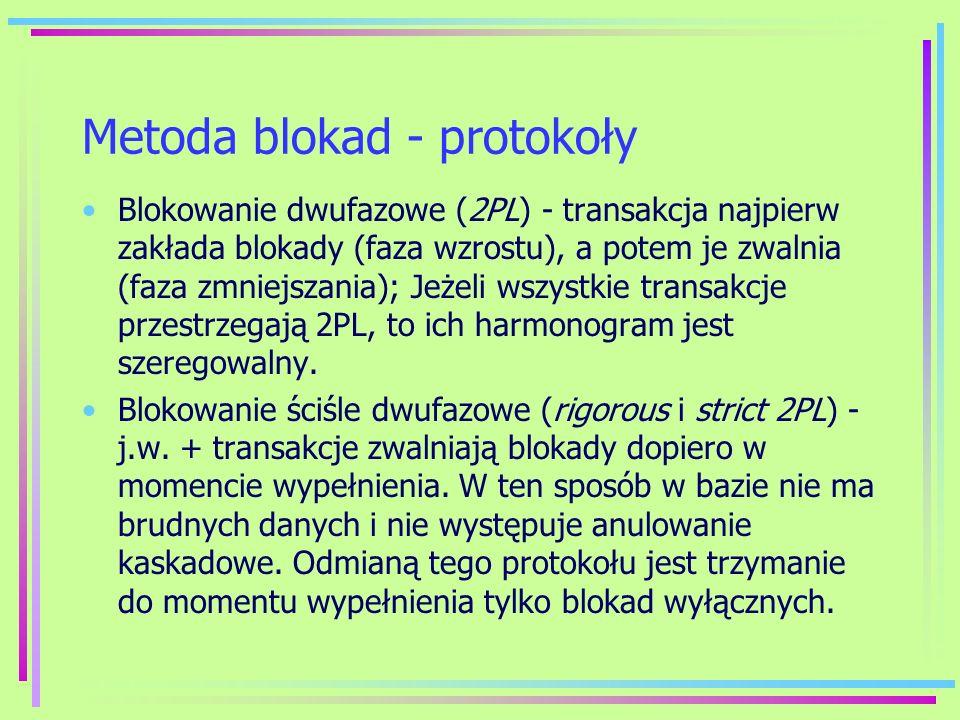 Metoda blokad - protokoły Blokowanie dwufazowe (2PL) - transakcja najpierw zakłada blokady (faza wzrostu), a potem je zwalnia (faza zmniejszania); Jeż