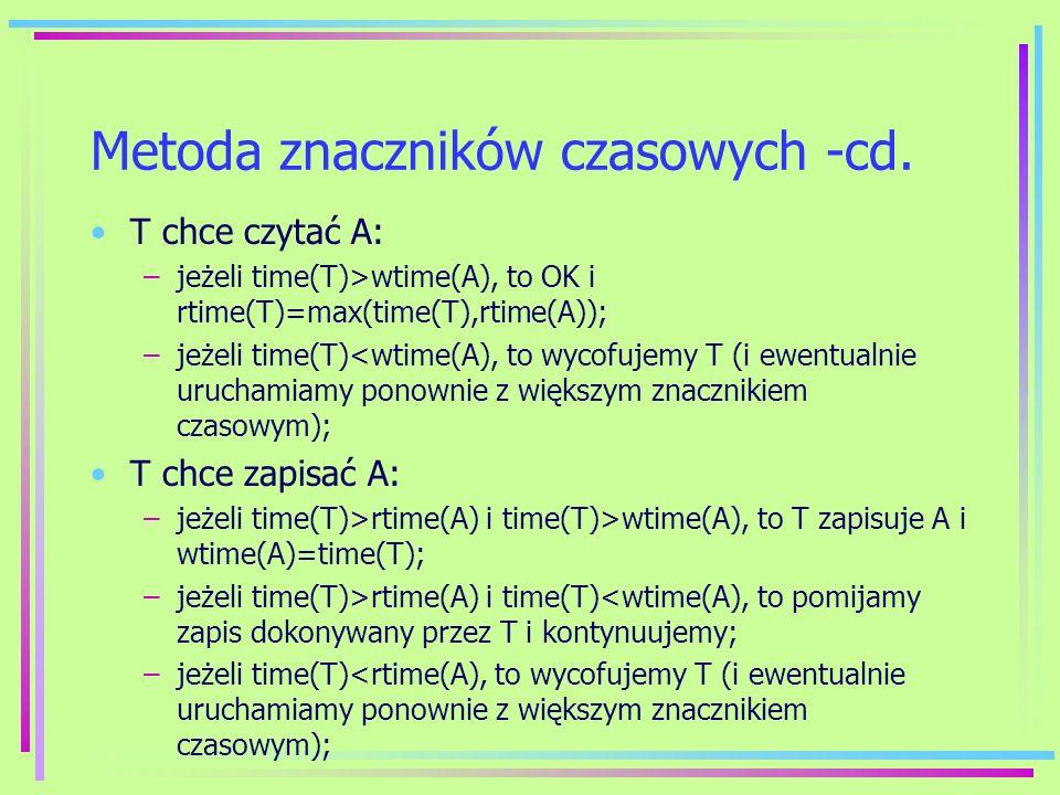 Metoda znaczników czasowych -cd. T chce czytać A: –jeżeli time(T)>wtime(A), to OK i rtime(T)=max(time(T),rtime(A)); –jeżeli time(T)<wtime(A), to wycof