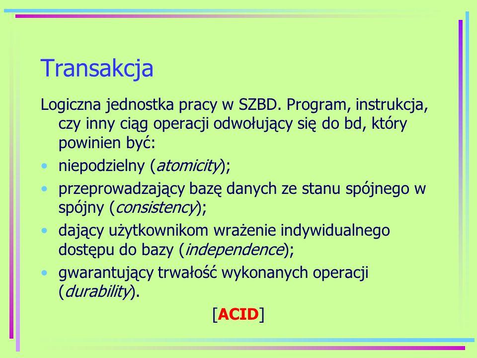 Transakcja Logiczna jednostka pracy w SZBD. Program, instrukcja, czy inny ciąg operacji odwołujący się do bd, który powinien być: niepodzielny (atomic