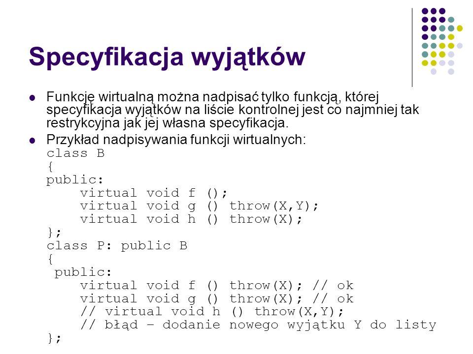 Specyfikacja wyjątków Funkcję wirtualną można nadpisać tylko funkcją, której specyfikacja wyjątków na liście kontrolnej jest co najmniej tak restrykcy