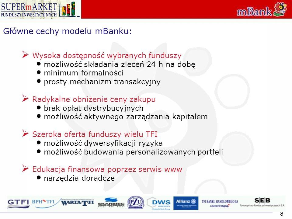 8 Główne cechy modelu mBanku: Wysoka dostępność wybranych funduszy możliwość składania zleceń 24 h na dobę minimum formalności prosty mechanizm transa