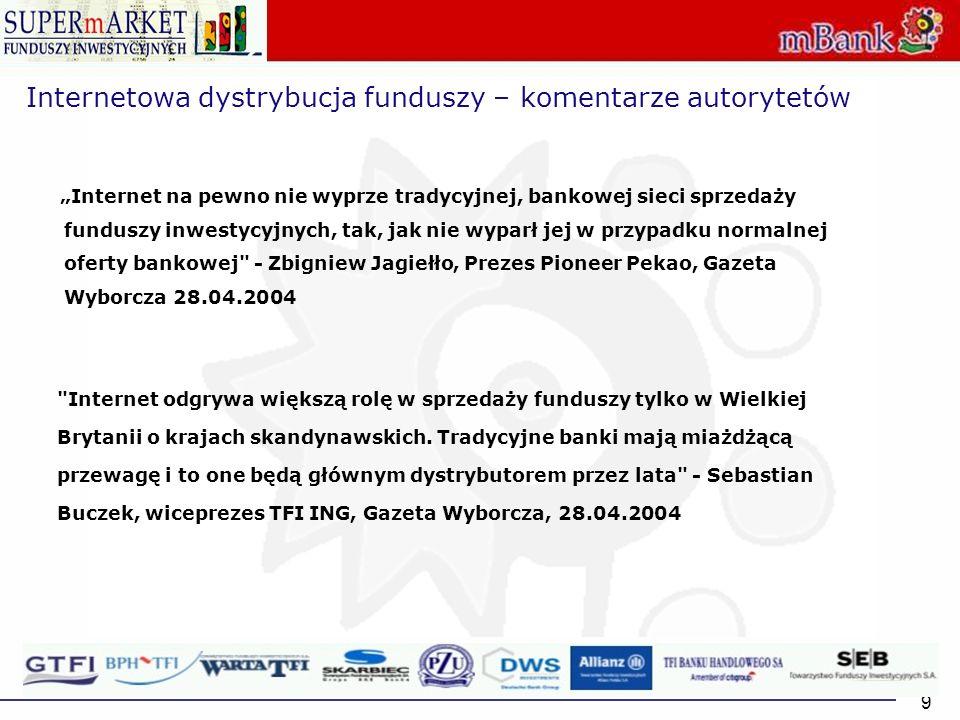9 Internetowa dystrybucja funduszy – komentarze autorytetów Internet na pewno nie wyprze tradycyjnej, bankowej sieci sprzedaży funduszy inwestycyjnych