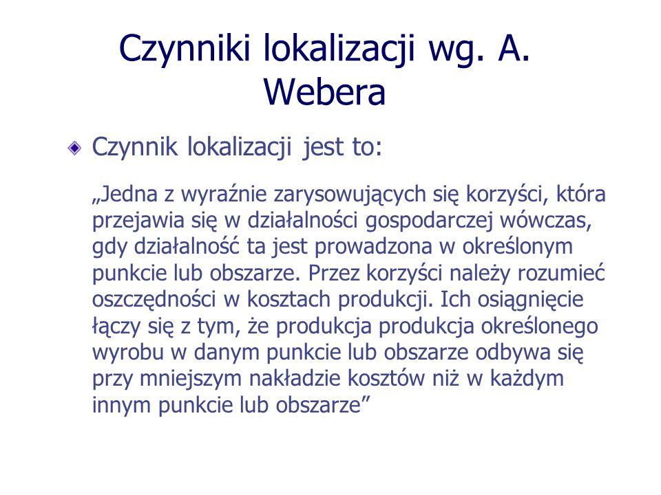 Czynniki lokalizacji wg. A. Webera Czynnik lokalizacji jest to: Jedna z wyraźnie zarysowujących się korzyści, która przejawia się w działalności gospo
