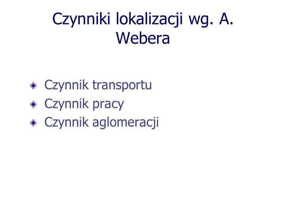 Czynniki lokalizacji wg. A. Webera Czynnik transportu Czynnik pracy Czynnik aglomeracji