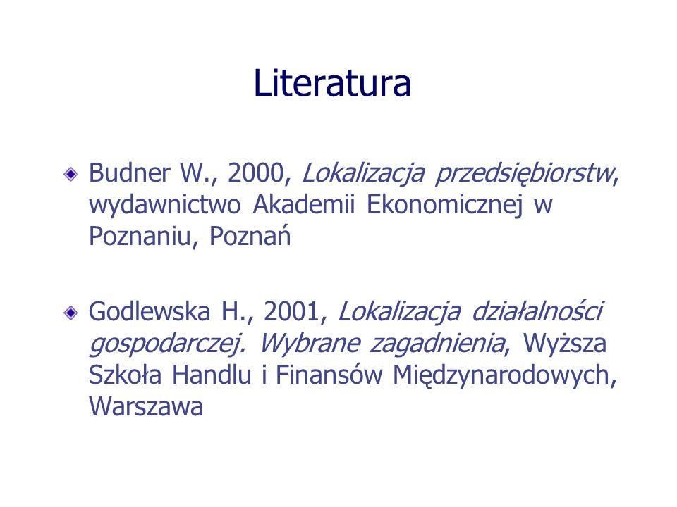 Literatura Budner W., 2000, Lokalizacja przedsiębiorstw, wydawnictwo Akademii Ekonomicznej w Poznaniu, Poznań Godlewska H., 2001, Lokalizacja działaln