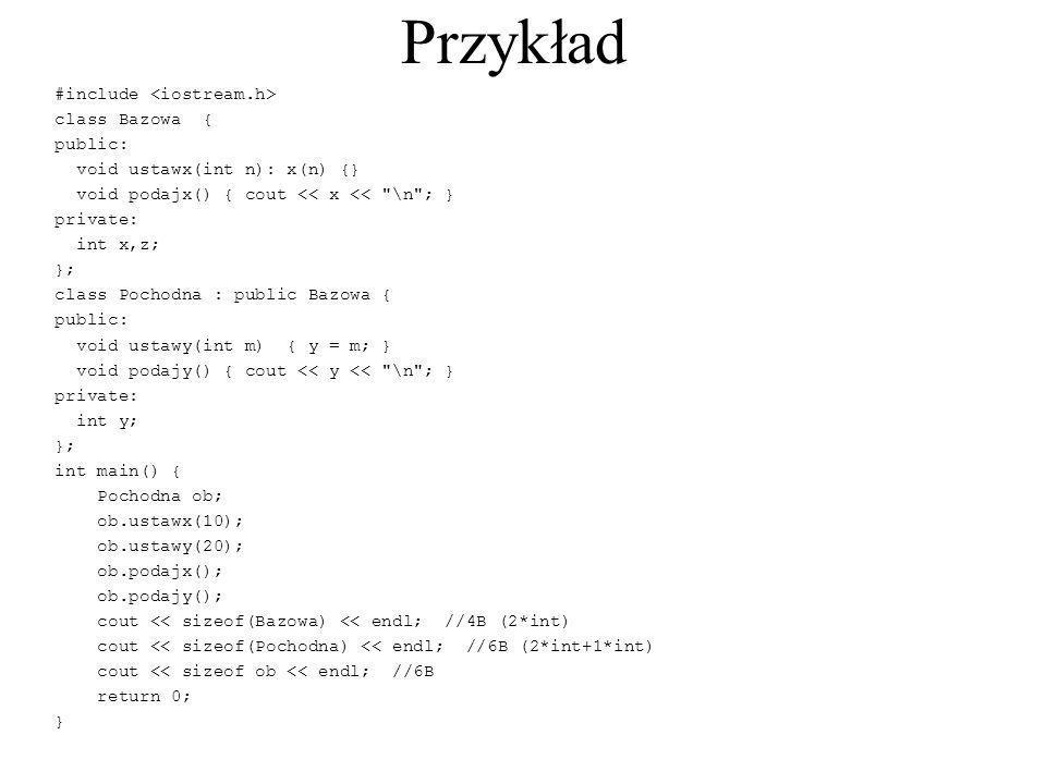 Przykład #include class Bazowa { public: void ustawx(int n): x(n) {} void podajx() { cout << x <<