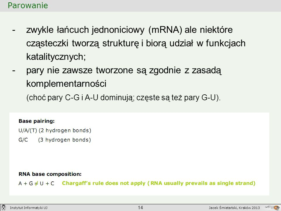 Parowanie 14 Jacek Śmietański, Kraków 2013Instytut Informatyki UJ -zwykle łańcuch jednoniciowy (mRNA) ale niektóre cząsteczki tworzą strukturę i biorą
