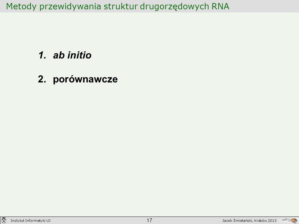 Metody przewidywania struktur drugorzędowych RNA 17 Jacek Śmietański, Kraków 2013Instytut Informatyki UJ 1.ab initio 2.porównawcze