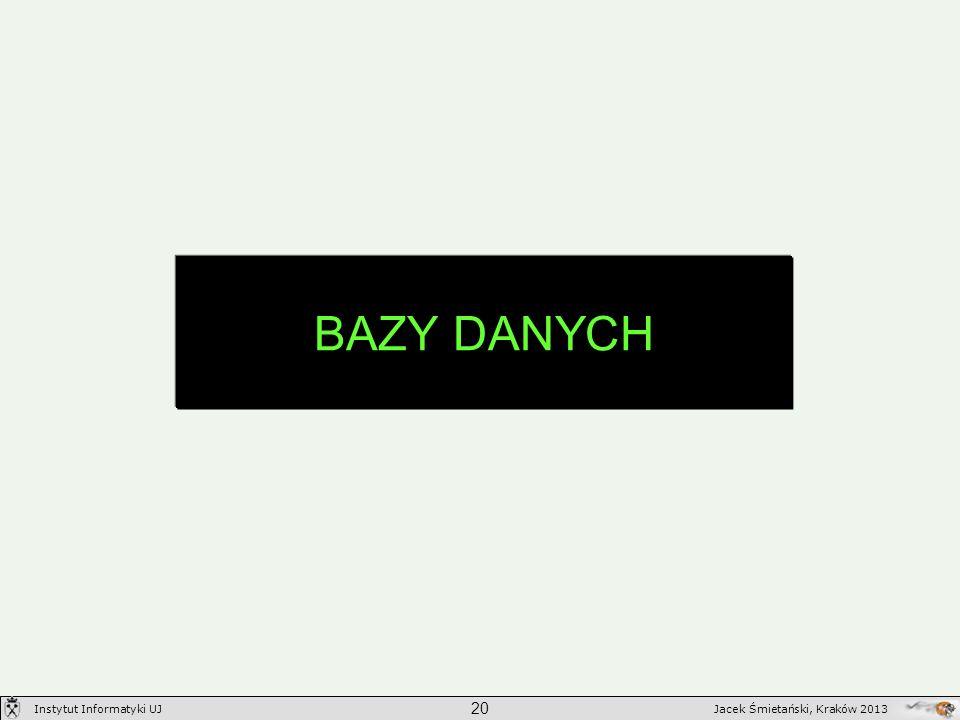 BAZY DANYCH 20 Jacek Śmietański, Kraków 2013Instytut Informatyki UJ