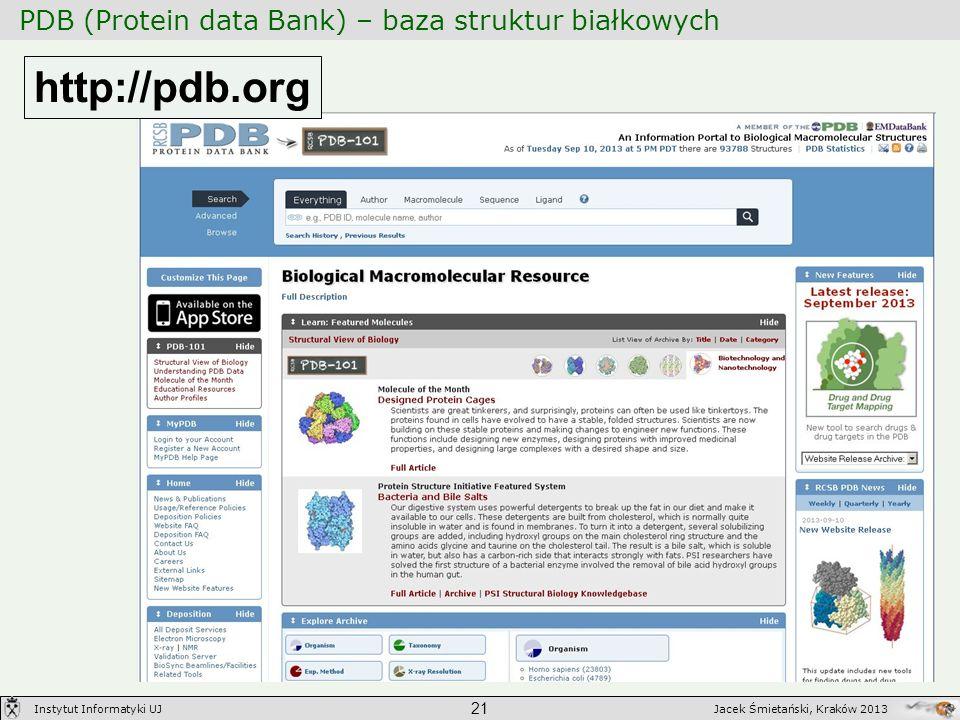 PDB (Protein data Bank) – baza struktur białkowych 21 Jacek Śmietański, Kraków 2013Instytut Informatyki UJ http://pdb.org