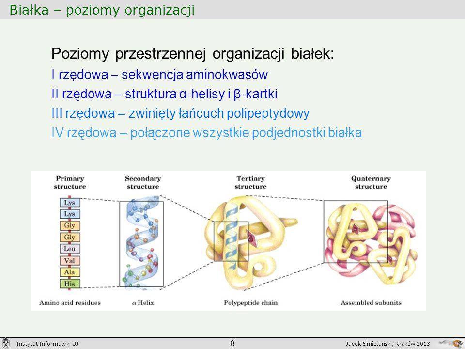 Białka – poziomy organizacji 8 Jacek Śmietański, Kraków 2013Instytut Informatyki UJ Poziomy przestrzennej organizacji białek: I rzędowa – sekwencja am