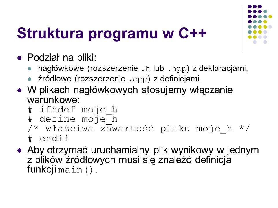 Struktura programu w C++ Podział na pliki: nagłówkowe (rozszerzenie.h lub.hpp ) z deklaracjami, źródłowe (rozszerzenie.cpp ) z definicjami. W plikach