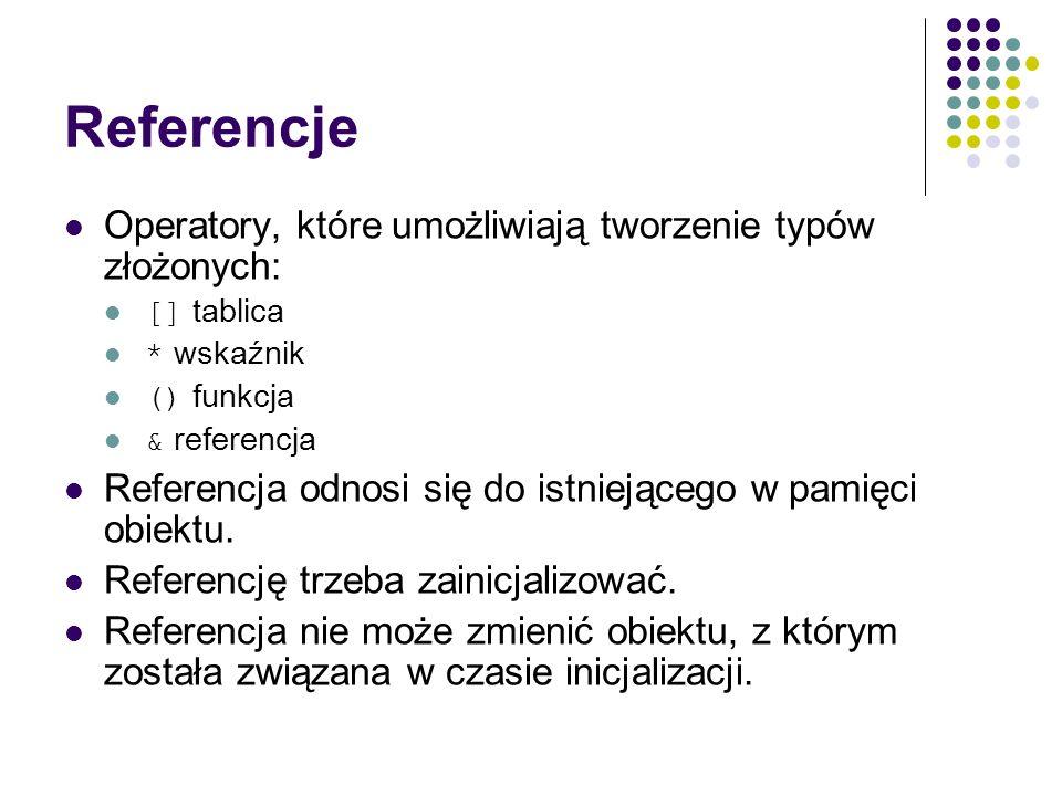 Referencje Operatory, które umożliwiają tworzenie typów złożonych: [] tablica * wskaźnik () funkcja & referencja Referencja odnosi się do istniejącego