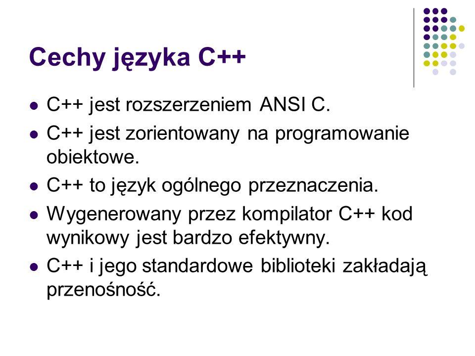 Cechy języka C++ C++ jest rozszerzeniem ANSI C. C++ jest zorientowany na programowanie obiektowe. C++ to język ogólnego przeznaczenia. Wygenerowany pr
