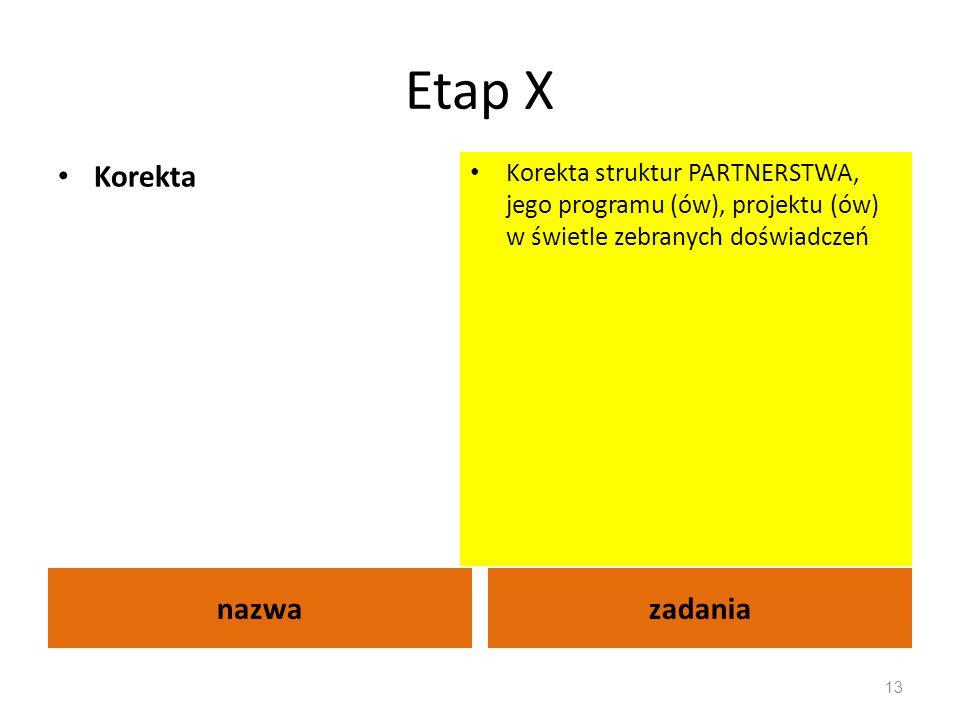 Etap X nazwazadania Korekta Korekta struktur PARTNERSTWA, jego programu (ów), projektu (ów) w świetle zebranych doświadczeń 13