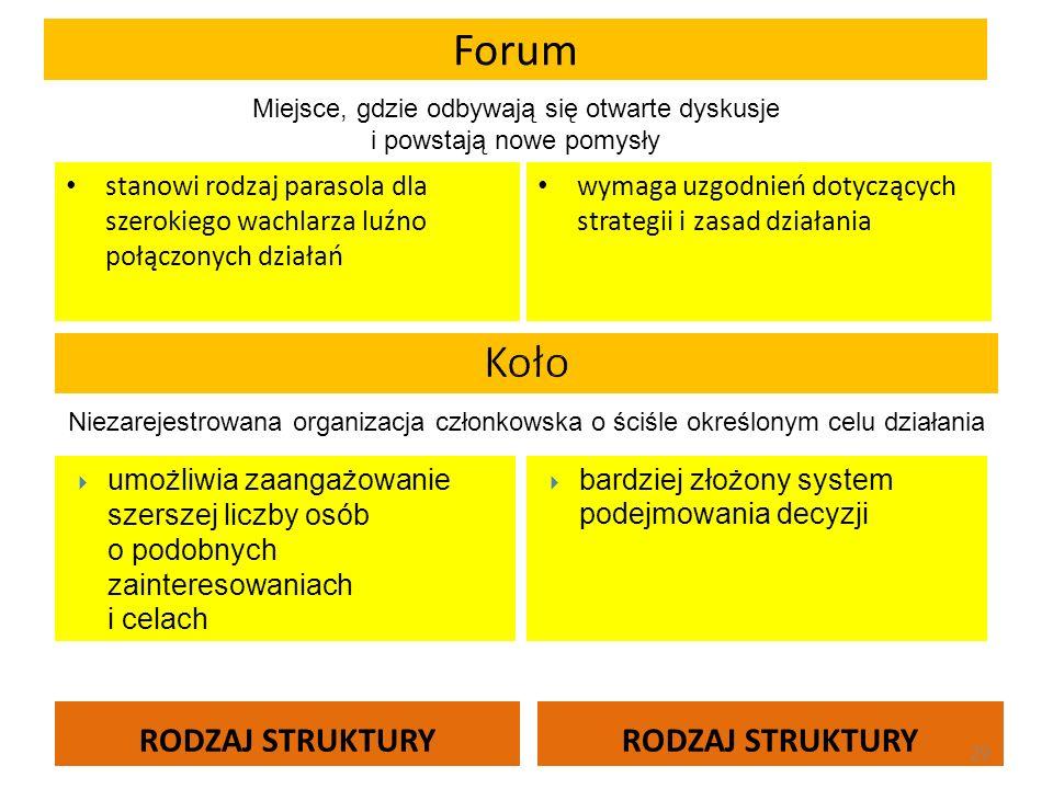 Forum RODZAJ STRUKTURY stanowi rodzaj parasola dla szerokiego wachlarza luźno połączonych działań wymaga uzgodnień dotyczących strategii i zasad dział