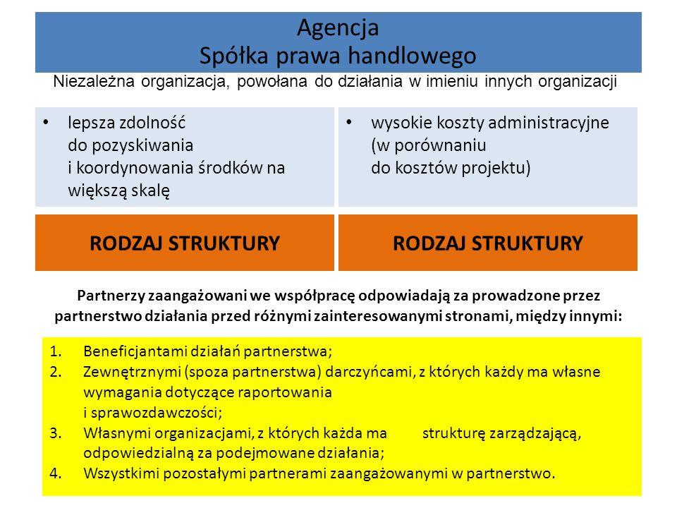 Agencja Spółka prawa handlowego RODZAJ STRUKTURY lepsza zdolność do pozyskiwania i koordynowania środków na większą skalę wysokie koszty administracyj