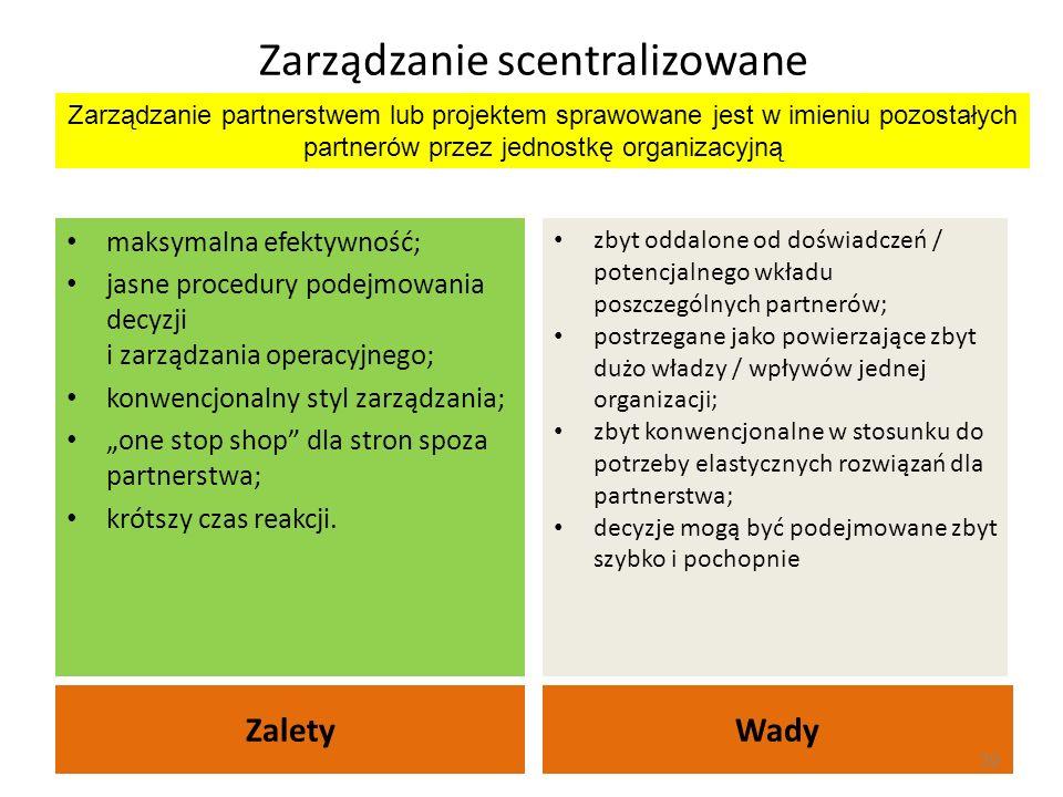 Zarządzanie scentralizowane ZaletyWady maksymalna efektywność; jasne procedury podejmowania decyzji i zarządzania operacyjnego; konwencjonalny styl za