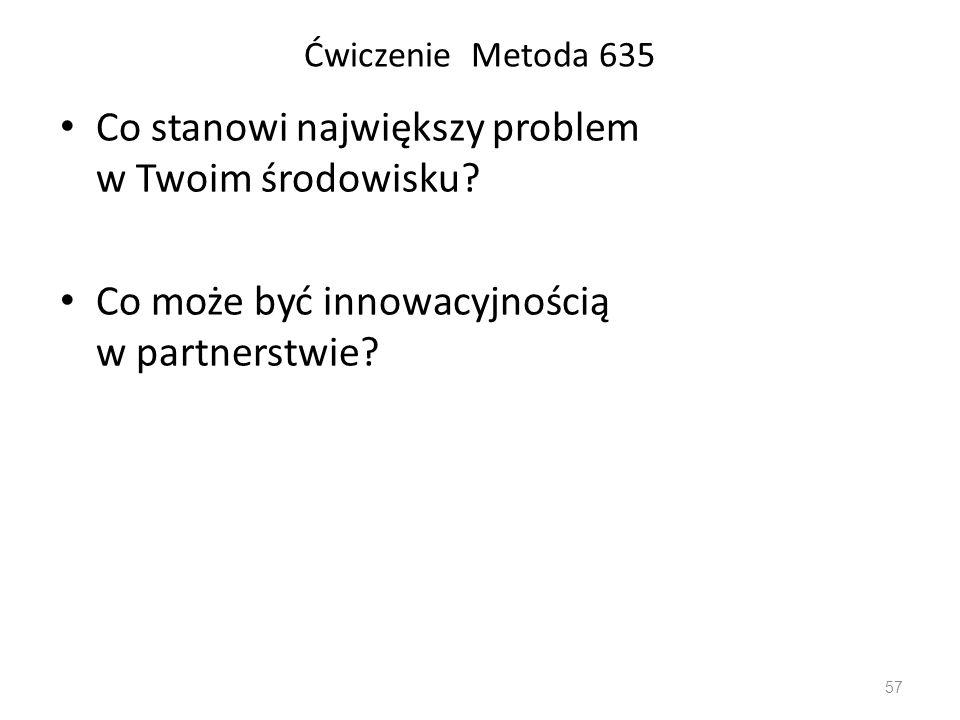 Co stanowi największy problem w Twoim środowisku? Co może być innowacyjnością w partnerstwie? Ćwiczenie Metoda 635 57