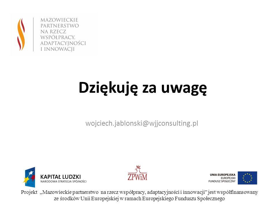 Dziękuję za uwagę wojciech.jablonski@wjjconsulting.pl Projekt Mazowieckie partnerstwo na rzecz współpracy, adaptacyjności i innowacji jest współfinans