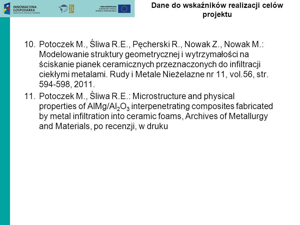 10.Potoczek M., Śliwa R.E., Pęcherski R., Nowak Z., Nowak M.: Modelowanie struktury geometrycznej i wytrzymałości na ściskanie pianek ceramicznych prz