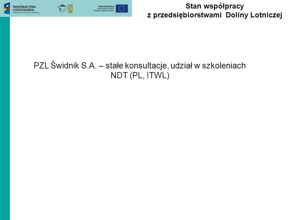 Stan współpracy z przedsiębiorstwami Doliny Lotniczej PZL Świdnik S.A. – stałe konsultacje, udział w szkoleniach NDT (PL, ITWL)