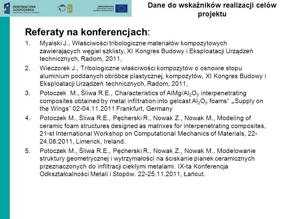 Referaty na konferencjach: 1.Myalski J., Właściwości tribologiczne materiałów kompozytowych zawierających węgiel szklisty, XI Kongres Budowy i Eksploa