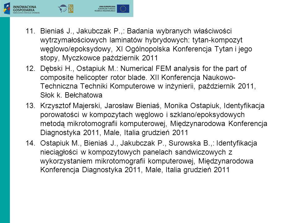 11.Bieniaś J., Jakubczak P.,: Badania wybranych właściwości wytrzymałościowych laminatów hybrydowych: tytan-kompozyt węglowo/epoksydowy, XI Ogólnopols