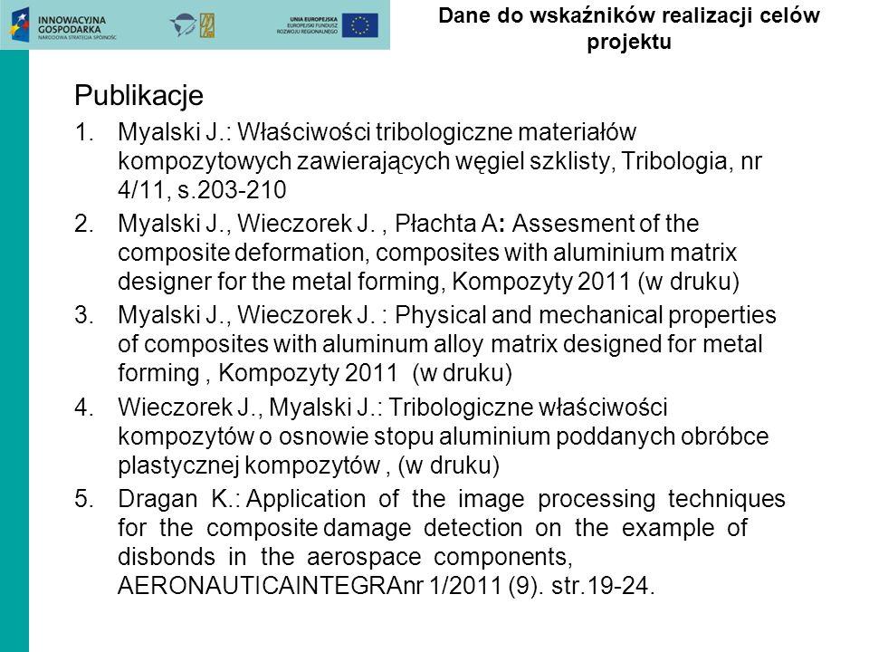 Publikacje 1.Myalski J.: Właściwości tribologiczne materiałów kompozytowych zawierających węgiel szklisty, Tribologia, nr 4/11, s.203-210 2.Myalski J.