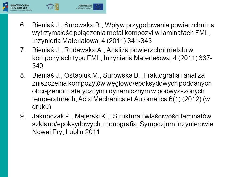 6.Bieniaś J., Surowska B., Wpływ przygotowania powierzchni na wytrzymałość połączenia metal kompozyt w laminatach FML, Inżynieria Materiałowa, 4 (2011