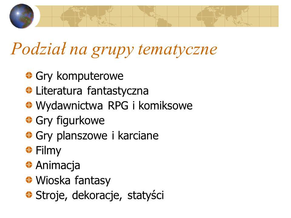 Podział na grupy tematyczne Gry komputerowe Literatura fantastyczna Wydawnictwa RPG i komiksowe Gry figurkowe Gry planszowe i karciane Filmy Animacja Wioska fantasy Stroje, dekoracje, statyści